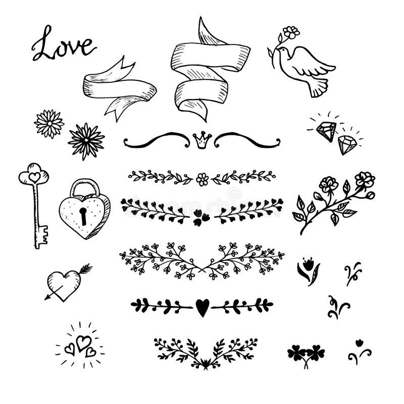 Wedding hand made graphic set flowers ribbons and decorative wedding hand made graphic set flowers ribbons and decorative elements vector design elements decorations for wedding hand made vintage design elements junglespirit Image collections