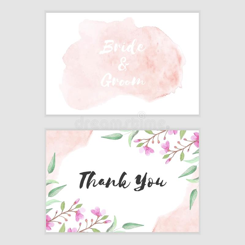 Flat and Folded Thank You Card Watercolor Pink and Blue Hydrangeas Wedding Card Printable Floral Thank You Card Intant Download