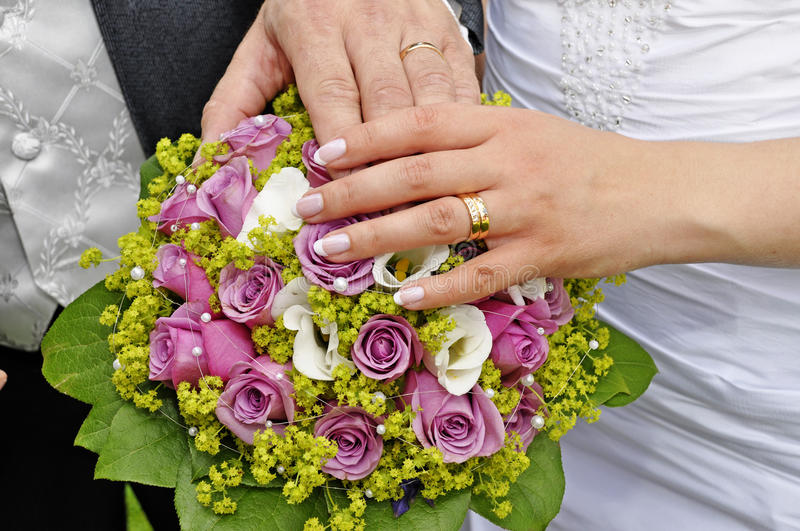 Wedding hands stock photography