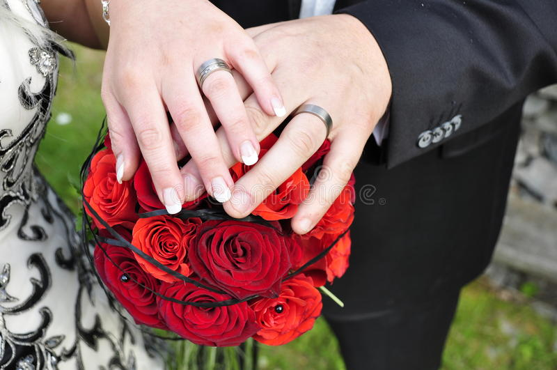 Wedding hands stock photography