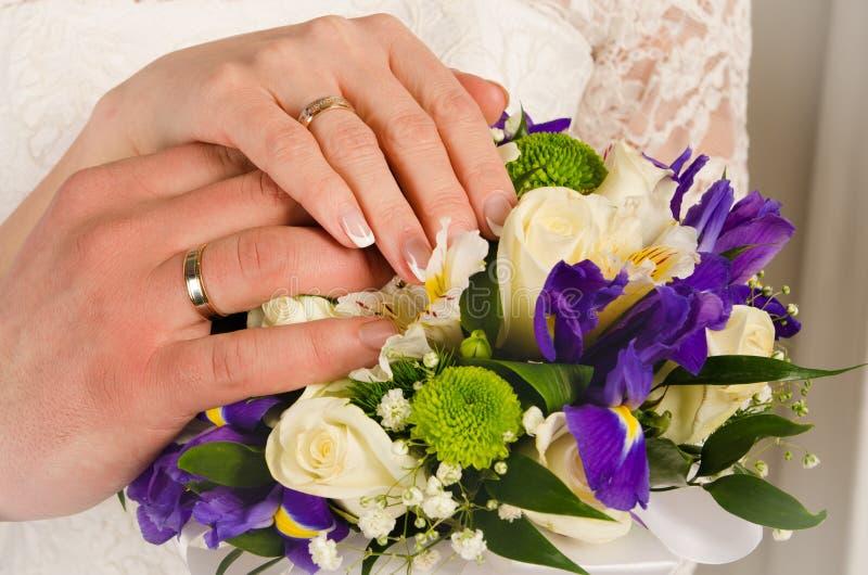 Wedding hands stock images