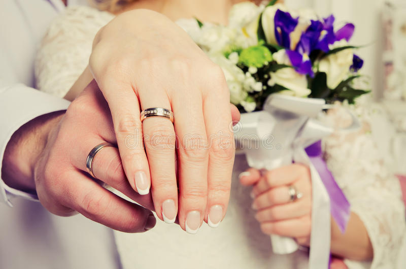 Wedding hands stock photos