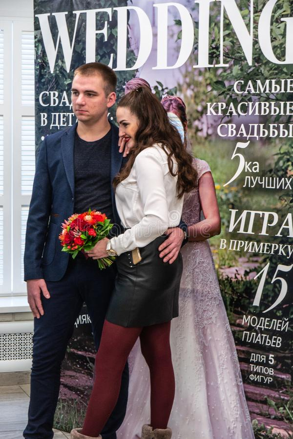 Wedding hassle an exhibition in Kirov Russia. Good wedding style shot from a wedding industry exhibition Wedding hassle 2019 took place in Kirov, Russia royalty free stock photos