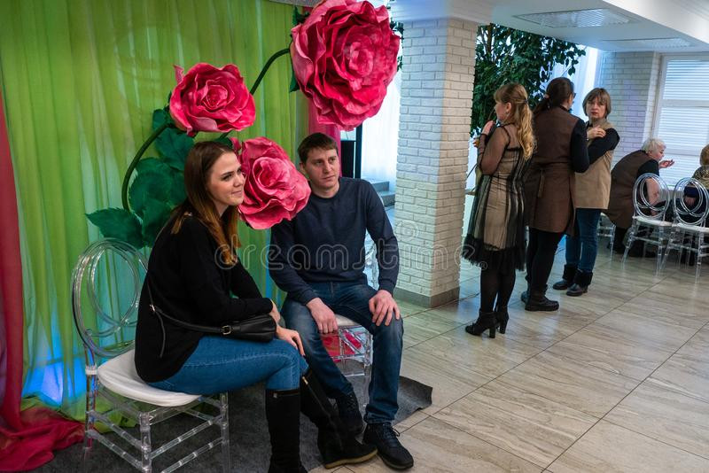 Engaged couple is posing for the camera. At the Wedding hassle 2019 exhibition took place in Kirov, Russia stock photos