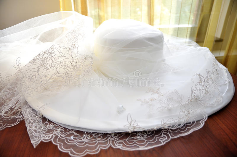 Wedding Hat. Women Wedding hat before the ceremony stock photos