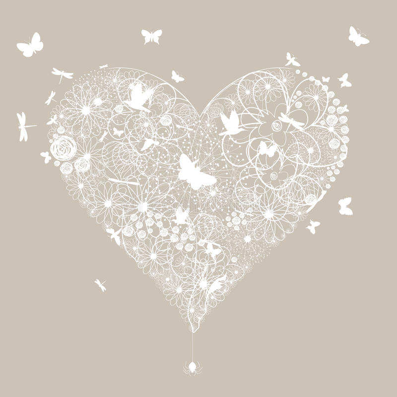 Wedding heart5. White wedding heart on a grey background. A vector illustration