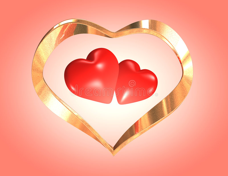 Wedding hearts. Hearts for enamored. Two red hearts in a gold framework. It is possible to use for registration of wedding video or invitations or to the royalty free stock photography