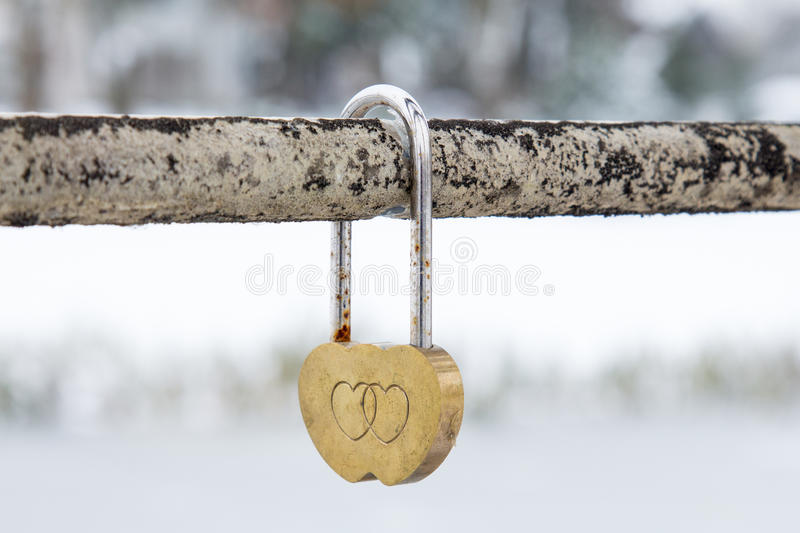 Wedding hinged lock with hearts stock photography