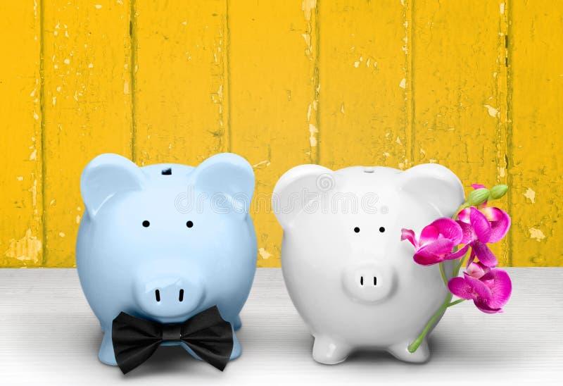 Wedding. Home Finances Piggy Bank Finance Humor Planning Savings royalty free stock images