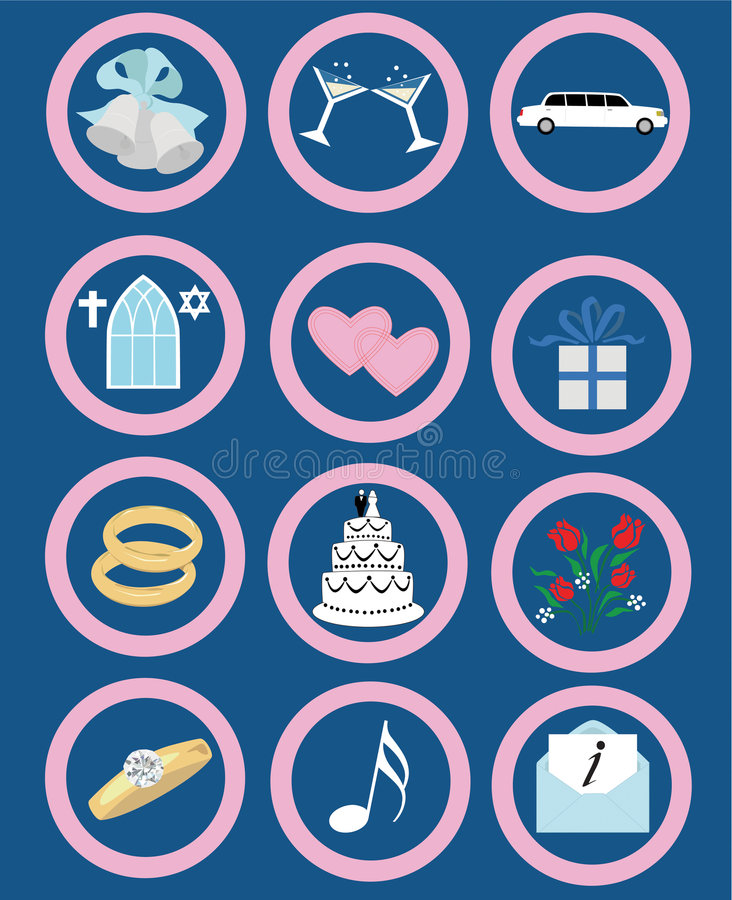 Download Wedding Icons stock vector. Image of church, invite, gifts - 1138927
