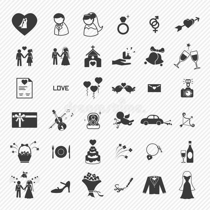 Wedding icons set. illustration vector illustration