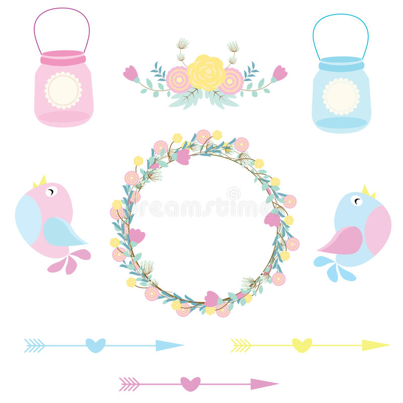 Wedding illustration with cute birds, flowers and bottles suitable for wedding sticker set and clip art stock illustration
