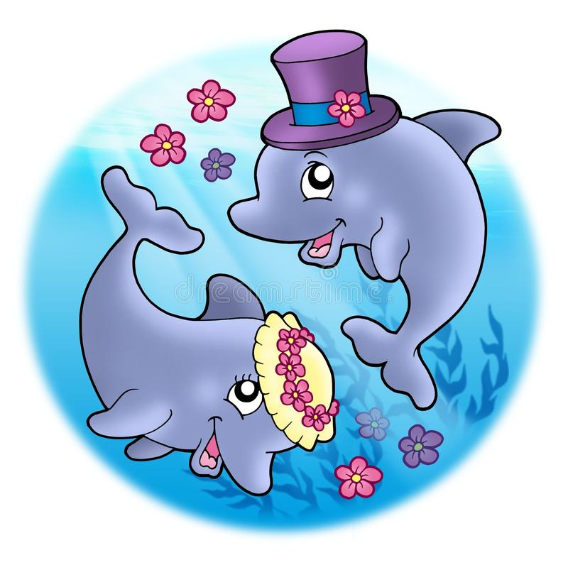 Download Wedding Image With Dolphins In Sea Stock Illustration - Image: 11149409