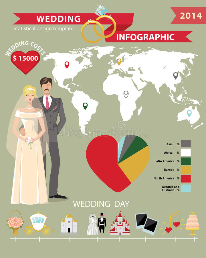 Wedding infographic set with world mapding day stock vector download wedding infographic set with world mapding day stock vector illustration of diagram ccuart Images