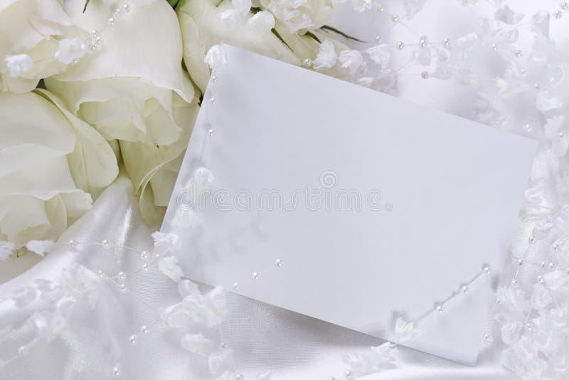 Wedding invitation. With white flowers stock photos