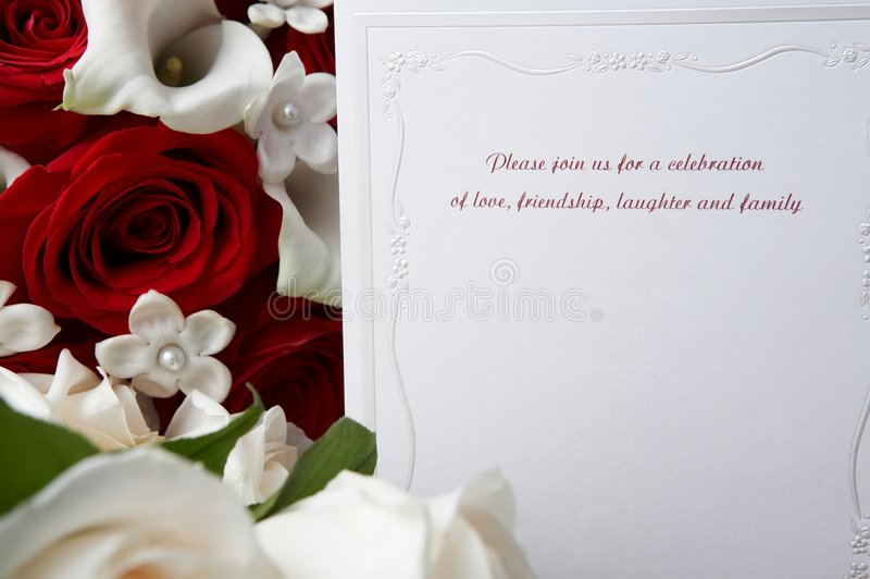 Wedding invitation. With red and white roses