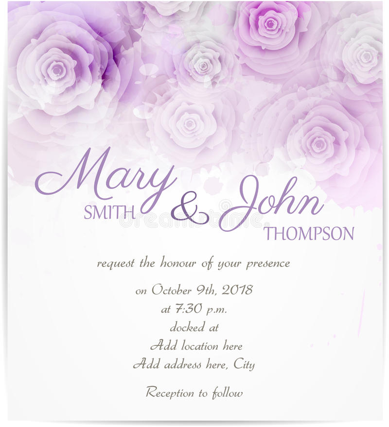 Wedding invitation with abstract roses royalty free illustration