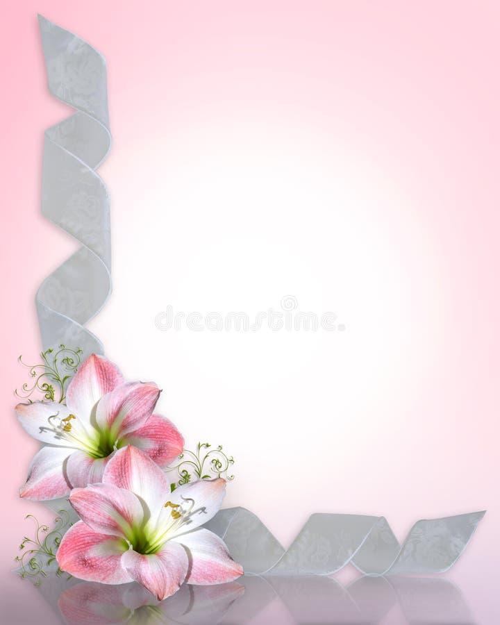 Free Wedding Invitation Amaryllis Pink Border Stock Images - 10408084