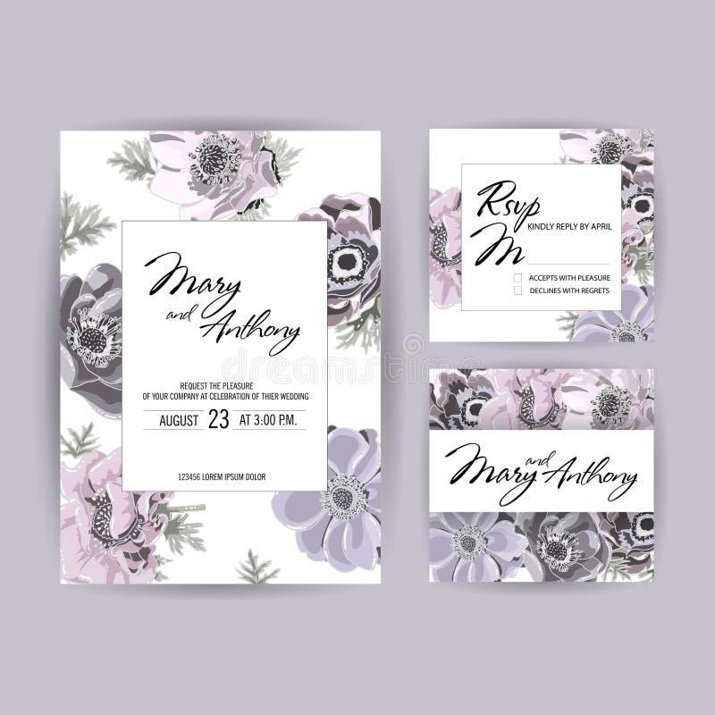 Wedding Invitation, anemone invite card Design: Hand drawn colorful marker illustration. Doodle sketch line flower on white. Background frame print. Vector stock illustration