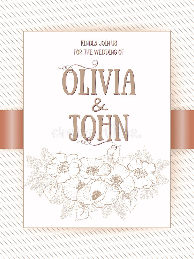 Wedding Invitation And Announcement Card With Floral Frame. Elegant ...