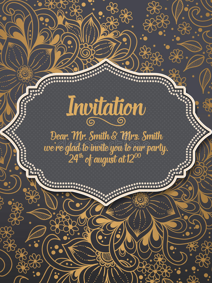 Download Wedding Invitation And Announcement Card With Ornament In Arabian Style. Arabesque Pattern. Stock Photo - Image of ancient, colorful: 91136716