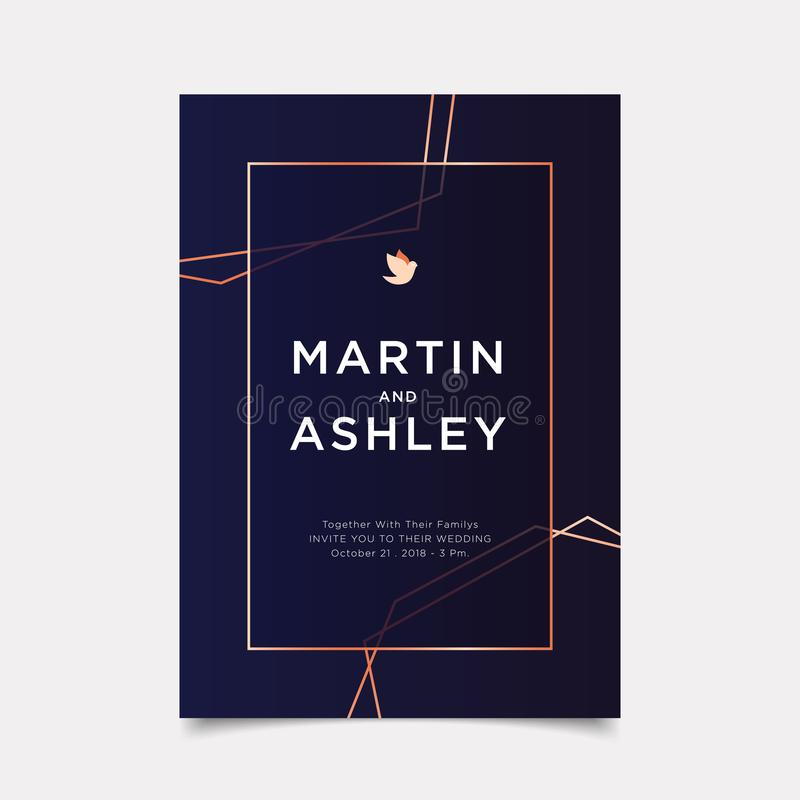 Wedding Invitation, art deco style invite thank you, rsvp modern card Design with navy blue and white gold geometrical polyhedron vector illustration