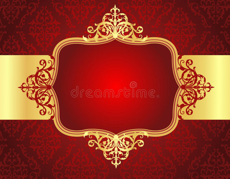 Wedding invitation background with red damask patt royalty free illustration