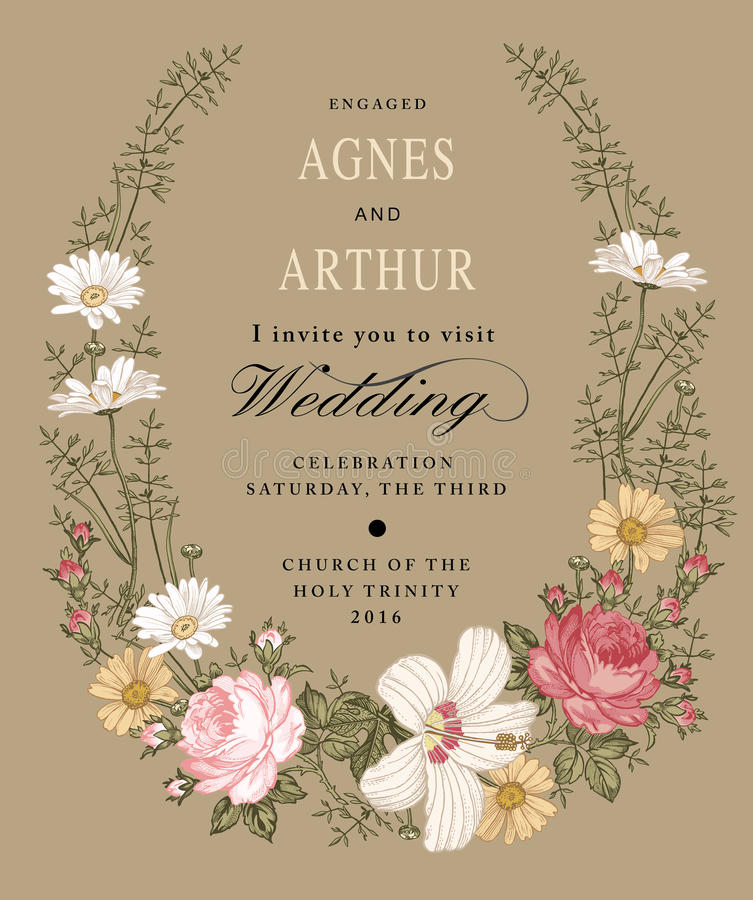 Wedding invitation. Beautiful flowers Chamomile Rose hibiscus mallow. Vintage greeting card. Frame Vector. Drawing engraving. Beautiful white blooming realistic stock illustration