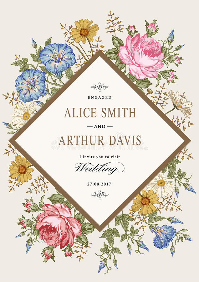 Wedding thanks invitation. Beautiful realistic flowers Chamomile Rose card. Frame, label. Vector victorian Illustration. Petunia. Beautiful thanks white blooming stock illustration