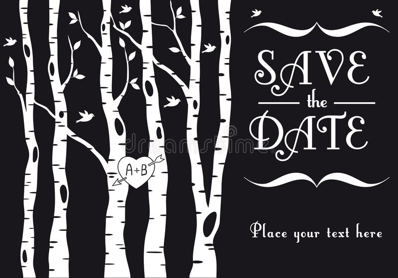 Download Wedding Invitation With Birch Trees, Vector Stock Vector - Illustration of plant, black: 29212183