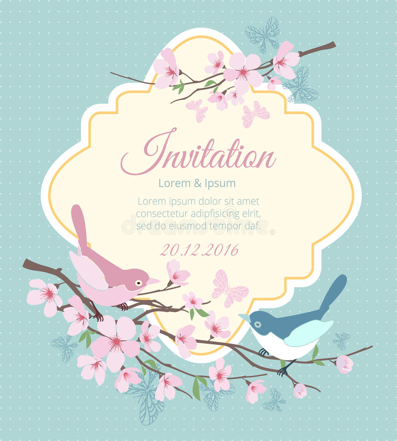 Wedding invitation with birds and flowering royalty free illustration