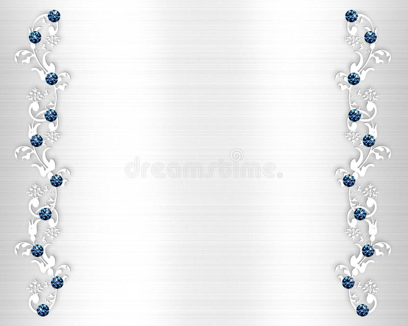Image And Illustration Composition Of Beautiful Blue Crystals On White Satin Like Background For Wedding Anniversary Or Special Occassion Invitation