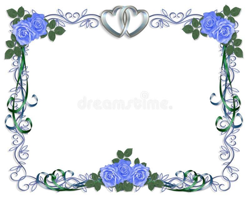 Border For Wedding Invitation Clip Art: Wedding Invitation Blue Roses Border Stock Illustration