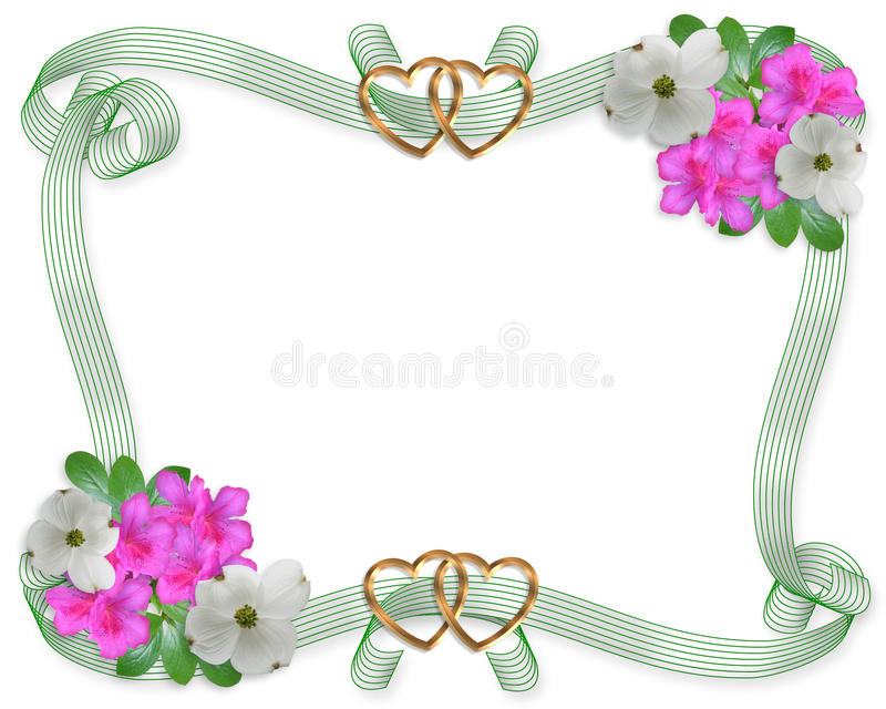 Wedding Invitation Border Flowers And Ribbons Stock Images
