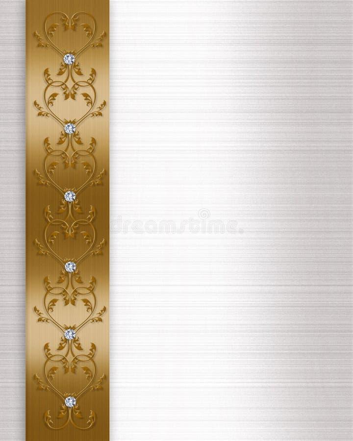 Wedding invitation border gold stock photos