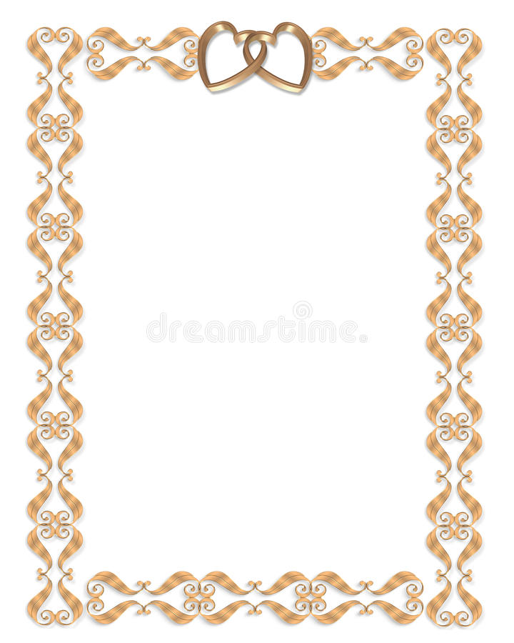 Download Wedding Invitation Border Gold Hearts Stock Illustration