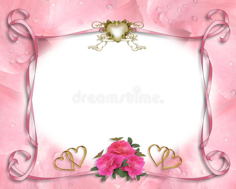 Wedding invitation border pink stock image
