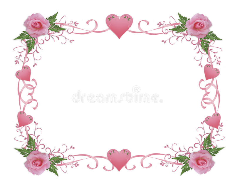 Wedding invitation border pink rose royalty free stock photos