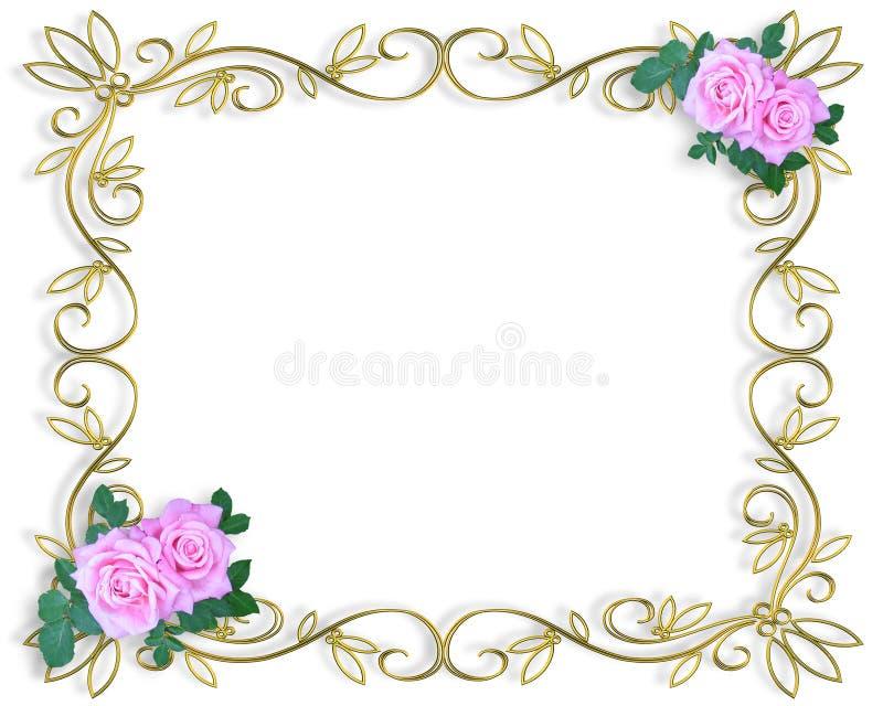 Wedding invitation Border pink roses vector illustration