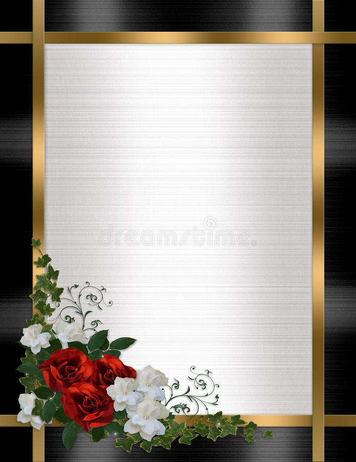 Wedding invitation border red roses stock illustration