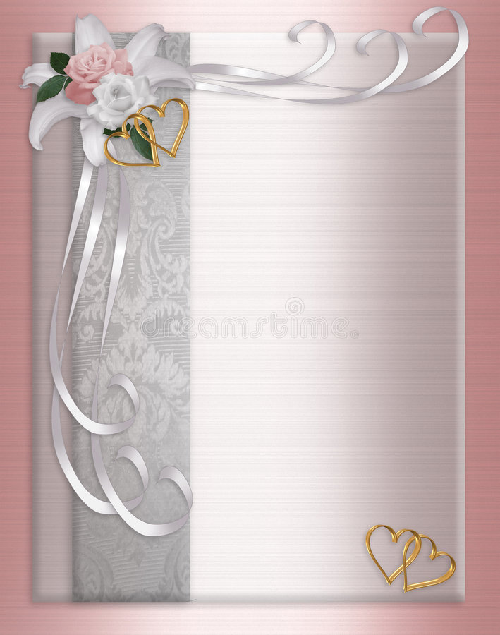 Free Wedding Invitation Border Satin Roses Royalty Free Stock Photo - 8889855