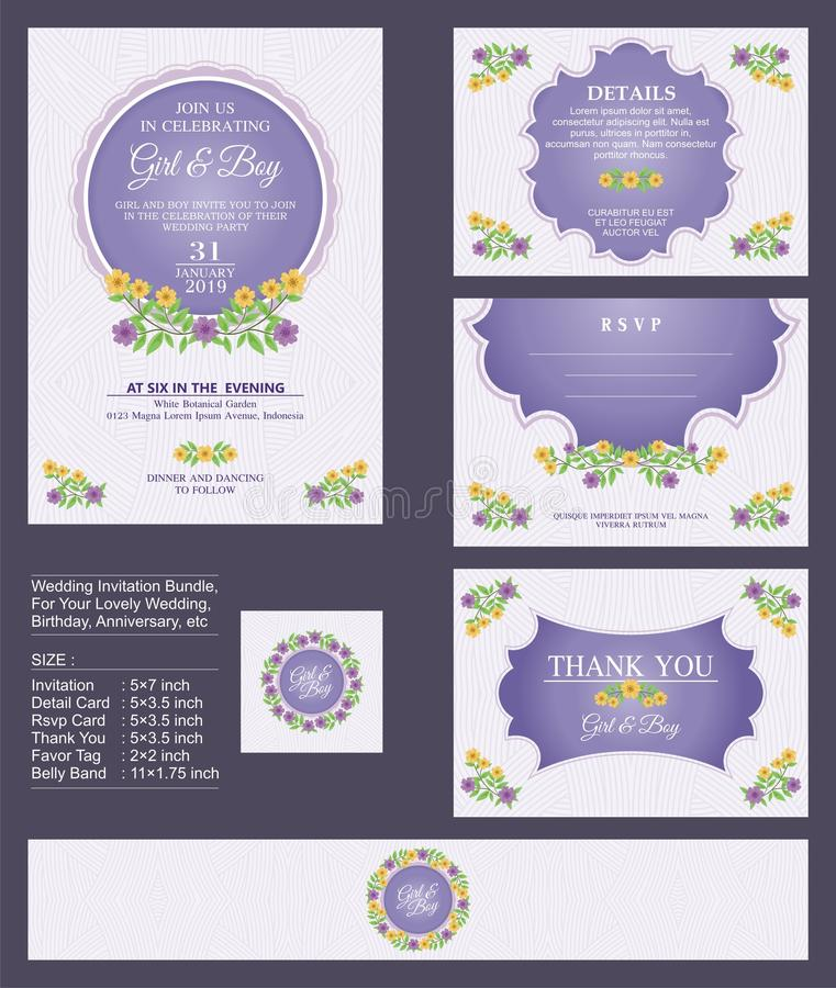 Free Wedding Invitation / Bridal Shower With Floral Bouquets And Wreath Design Stock Photography - 109198082