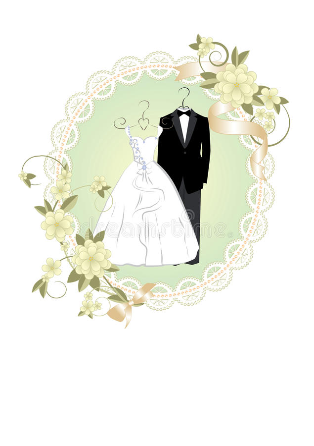 Wedding Invitation With Bride And Groom Dress Stock Vector ...