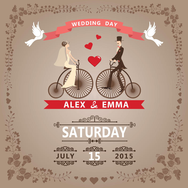 Wedding invitation with Bride, groom,retro bicycle, floral frame stock illustration