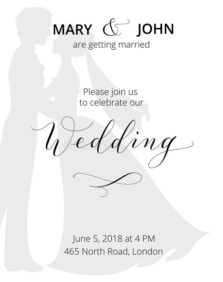 Wedding Invitation With Bride And Groom Silhouettes And Hand Written ...