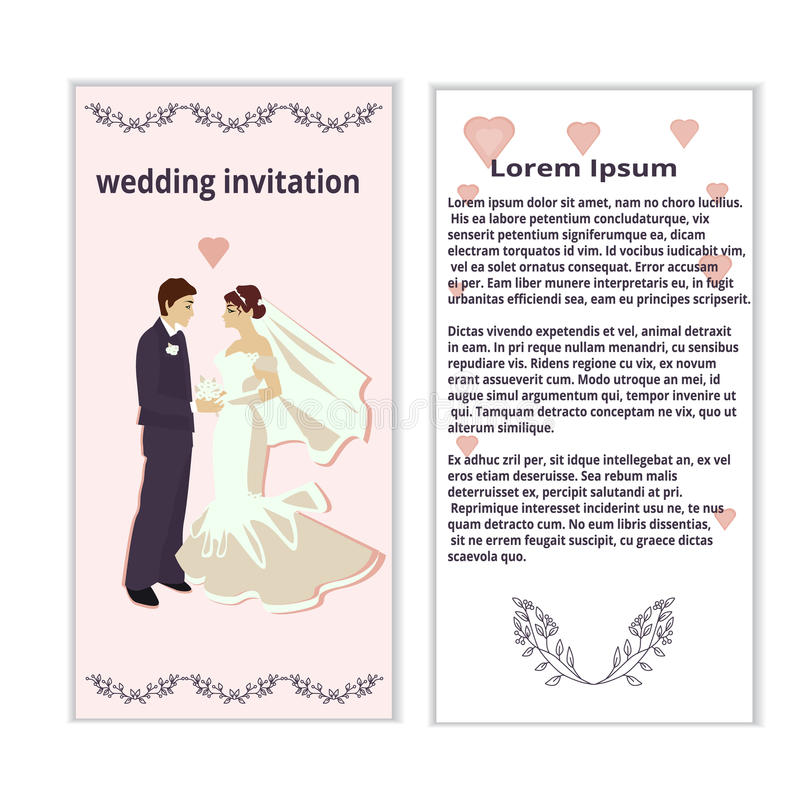 Wedding Invitation With Bride And Groom Stock Vector - Illustration ...