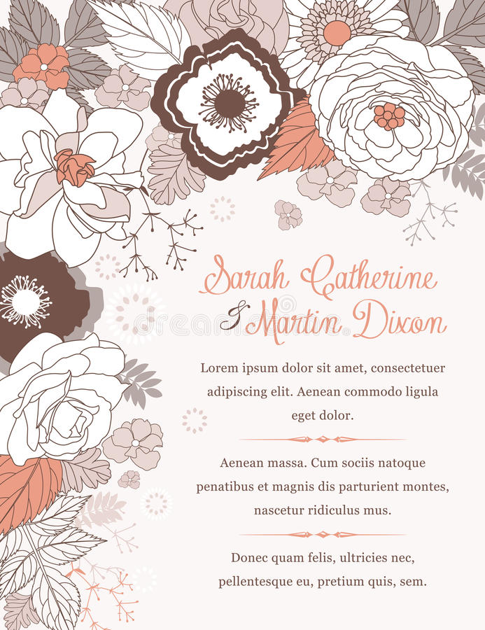 Wedding invitation card. With lovely flowers vector illustration