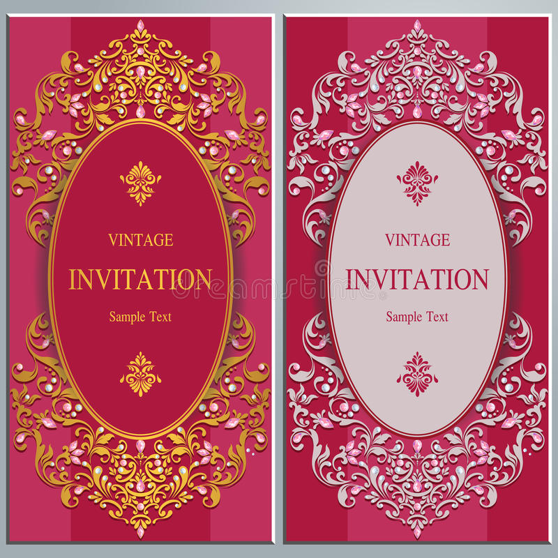 Wedding invitation or card with abstract background. stock illustration