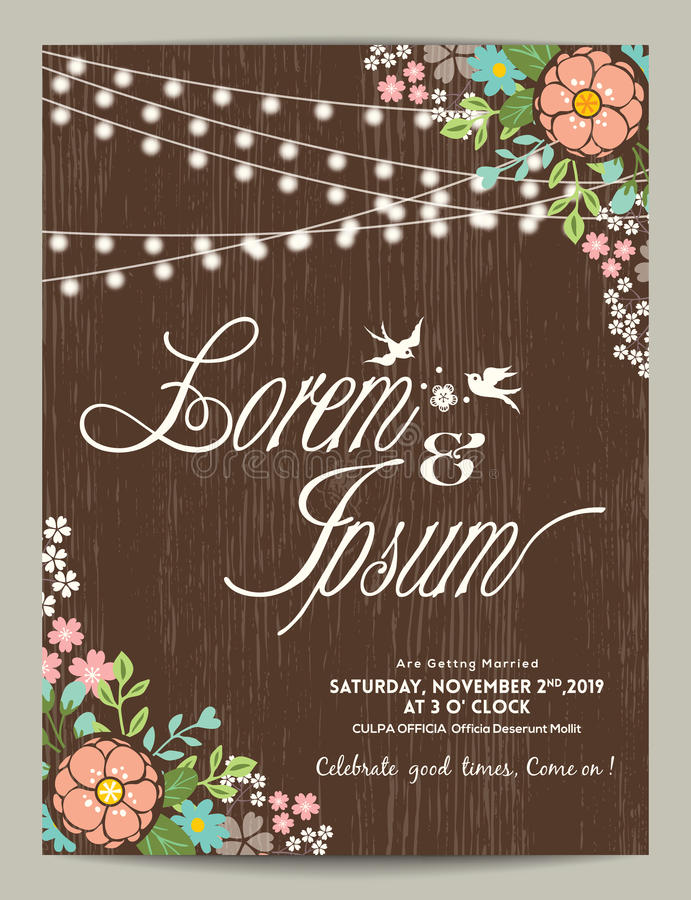 Wedding invitation card with abstract floral background stock illustration