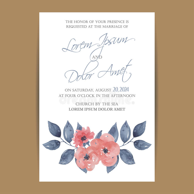 Wedding invitation card or announcement. With beautiful flowers royalty free illustration